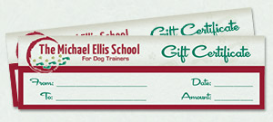 Dog Trainer School Gift Certificate